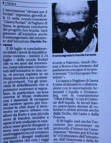 """Il Centro – Quotidiano d'Abruzzo, """"Scuola in container abbellita con alberi da frutto e murales"""""""